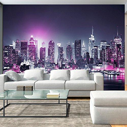 Vlies Fototapete 300x210 cm - 3 Farben zur Auswahl - Top Tapete Wandbilder XXL Wandbild Bild Fototapeten Tapeten Wandtapete New York City Stadt NY Manhattan Nacht Panorama Hochhaus d-C-0012-a-d