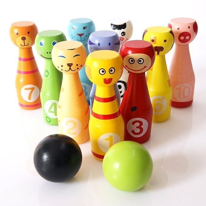 Itian Niños de los Bolos de Madera, Juguetes de Los Bolos Dibujos Animados de Colores (10 Botellas + 3 Bolas): Amazon.es: Electrónica
