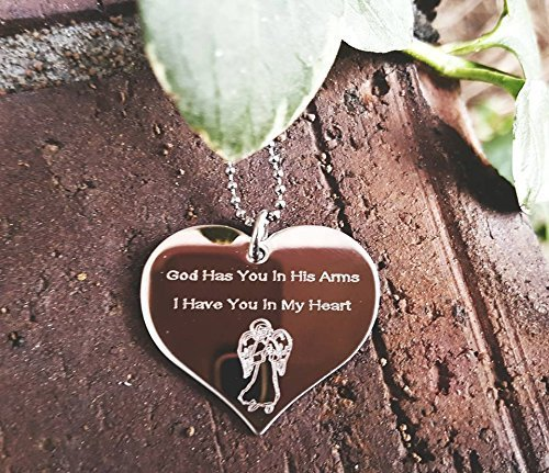 God Has You In His Arms I Have You In My Heart Angel Heart Necklace Memorial Gift Loss of Loved One, Angel Heart Necklace