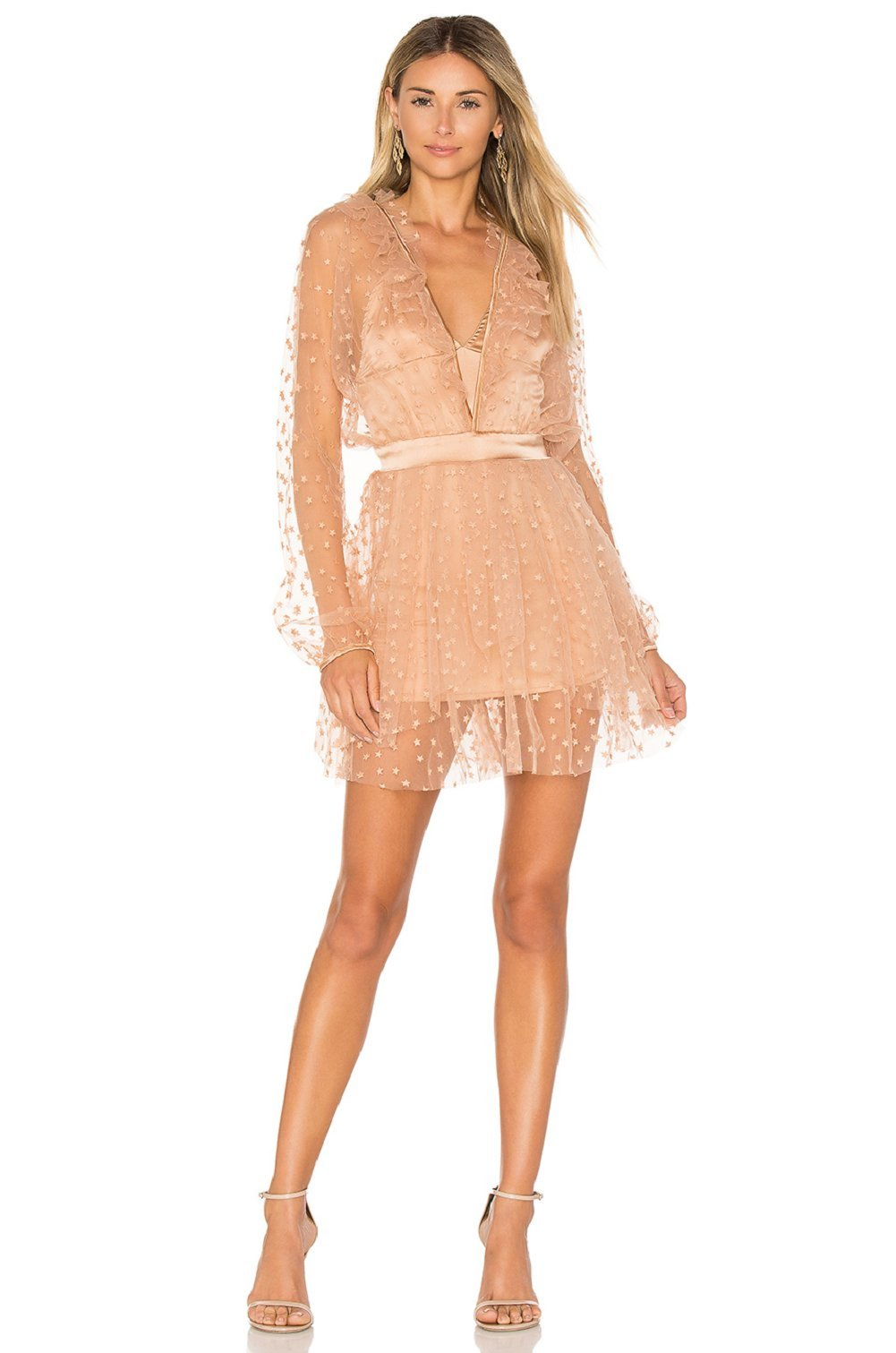 For Love and Lemons Women's All That Glitters Mini Dress Almond Dress