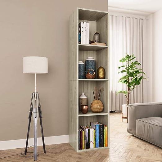 UnfadeMemory Estantería Librería Versátil,Mueble de TV(Colocarse Horizontalmente),Estantería de Libros para Salon Dormitorio Oficina Estudio,Aglomerada (Roble Sonoma, 36x30x143cm,4 Compartimentos): Amazon.es: Hogar