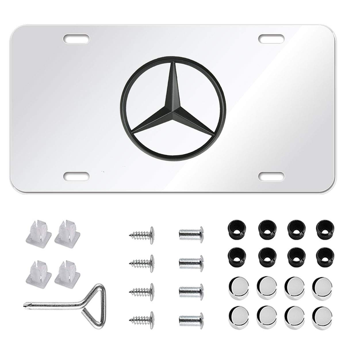 Luxury Black Chrome 3D Front License Plate Covers with Logo Screw Nuts Set for Mercedes All Models Fast /& Furious for Mercedes Benz Stainless Steel License Plate