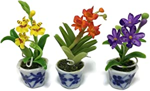3 pc Miniature Flower Clay Dollhouse Fairy Garden Mini Plant Trees Ceramic Paint Furniture Bundles Artificial Flowers Tiny Orchid #055