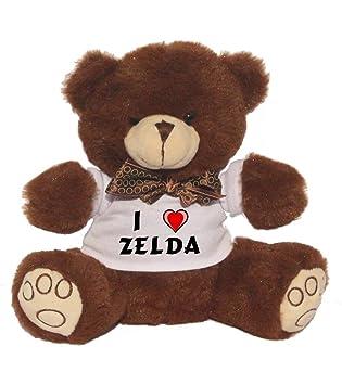 Oso de peluche con Amo Zelda en la camiseta (nombre de pila/apellido/