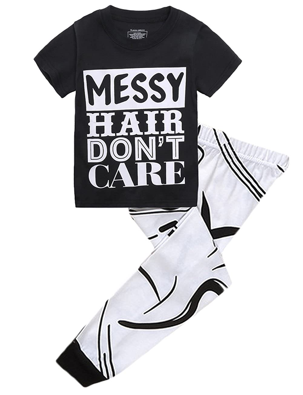 Kids Girls MESSY HAIR DON'T CARET-shirt and Printing Pants Outfit