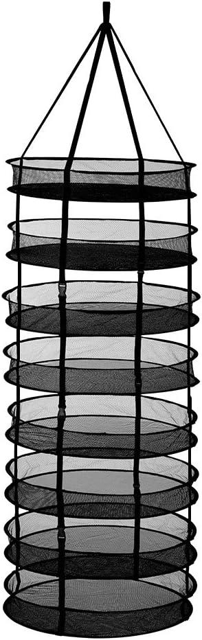 Finether Malla de Secado Plegable y Colgante Red de Secado 160 cm 8 Capas Hidroponía Planta 23.62-pulgadas, Redonda, con Cremallera Bolsa de Transporte Incluida, Negro