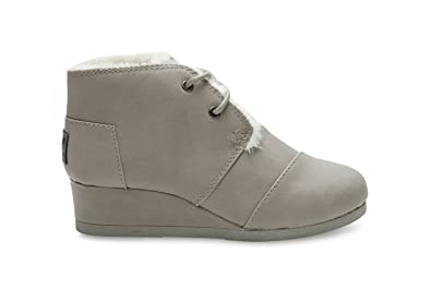 TOMS Desert Wedges Grey Synthetic Leather 10006469 Youth 13.5