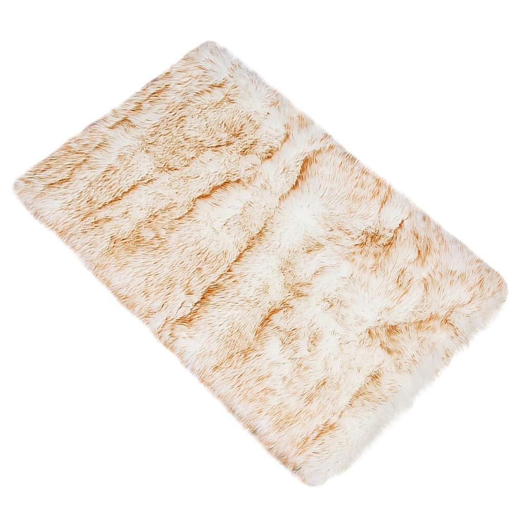 Soft Fluffy Faux Fur Area Rugs | Luxury Hairy High Pile Furry Anti-Skid Shaggy Dining Room Home Bedroom Carpet | Indoor Modern Shag Rug Home Decorations Floor Mat (Beige) by Leadmall