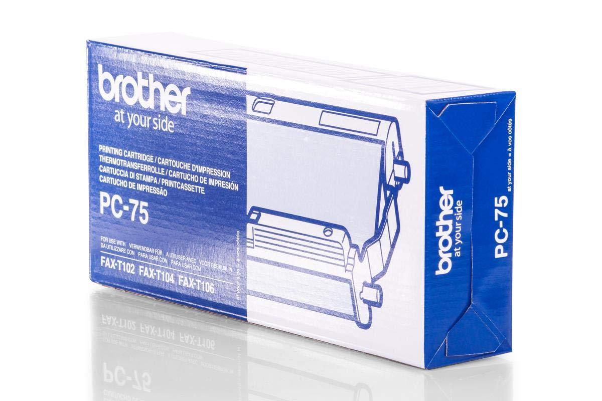 Original Brother PC75 / 27719 Thermo-Transfer-Rolle (schwarz, ca. 140 Seiten, mit Kassette) für Fax T 102, 104, 106