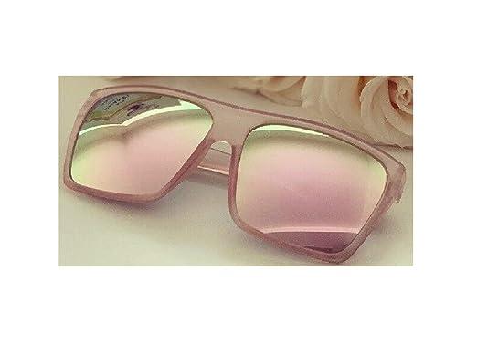 Amazon.com: 1 gafas de sol cuadradas con espejo de oro rosa ...