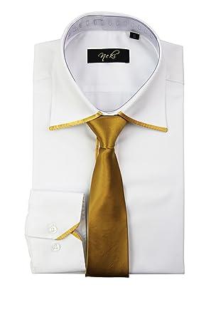 2780829e6fa3 By Neki Mens Silk Satin Tie Trim Formal Dress Work Shirt with Matching Tie S  M L XL 2XL 3XL 4XL: Amazon.co.uk: Clothing