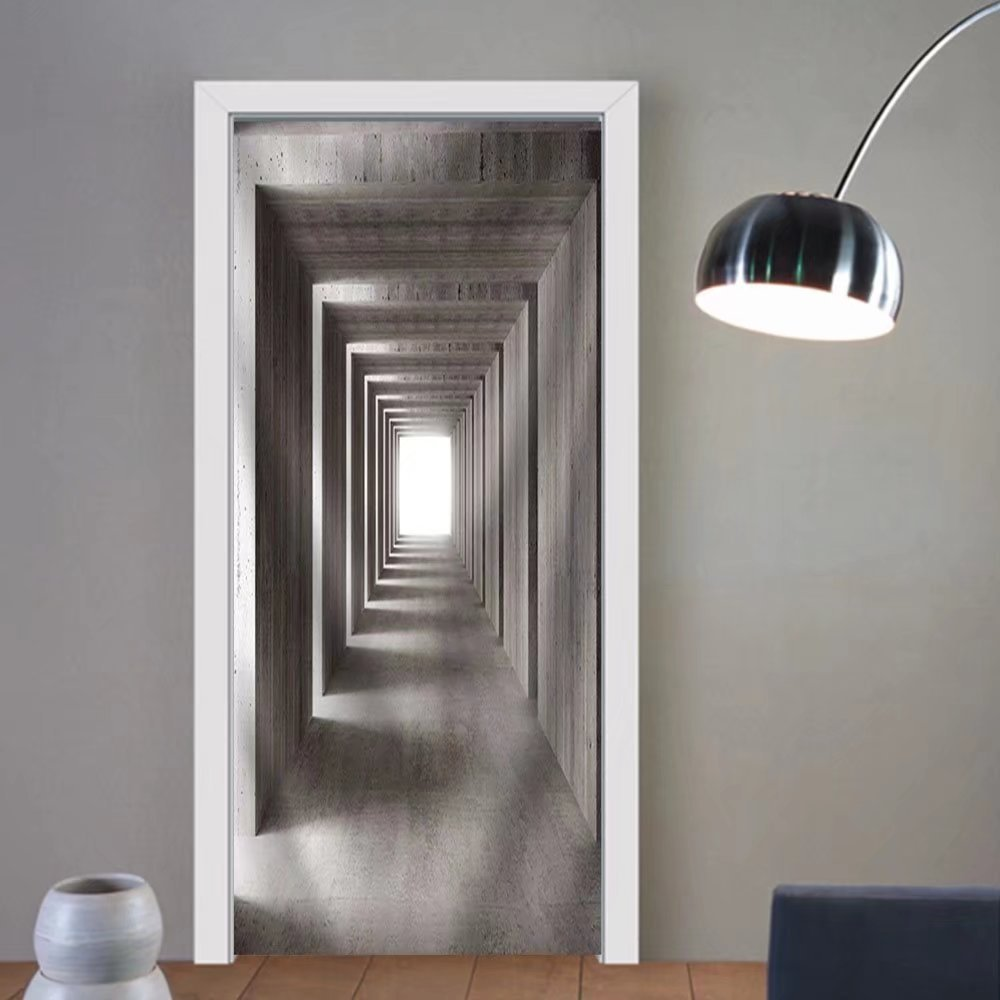Gzhihine custom made 3d door stickers Fine Image 3d of Concrete Tunnel and Lateral Lights Abstract Background Fabric Home Decor For Room Decor 30x79