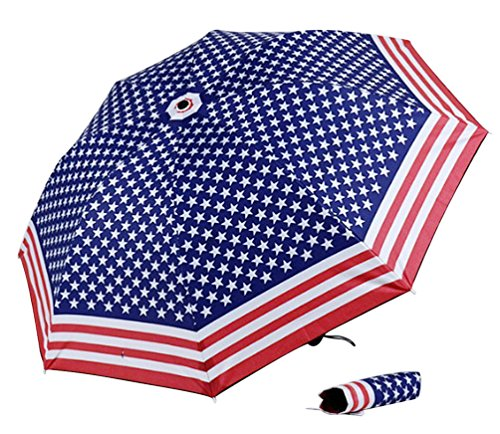 American Flag Umbrella - Icegirl 3 Folding Compact American Flag UV Protection Princess Umbrella Sunshade Umbrella Sun Umbrella Folding Umbrella USA Flag Style