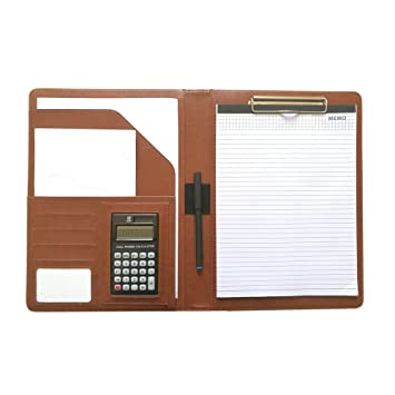 A4 Porte bloc Portefeuille organiseur Document support Business Padfolio Organiseur calculatrice Conférencier bloc notes à anneaux pour interview