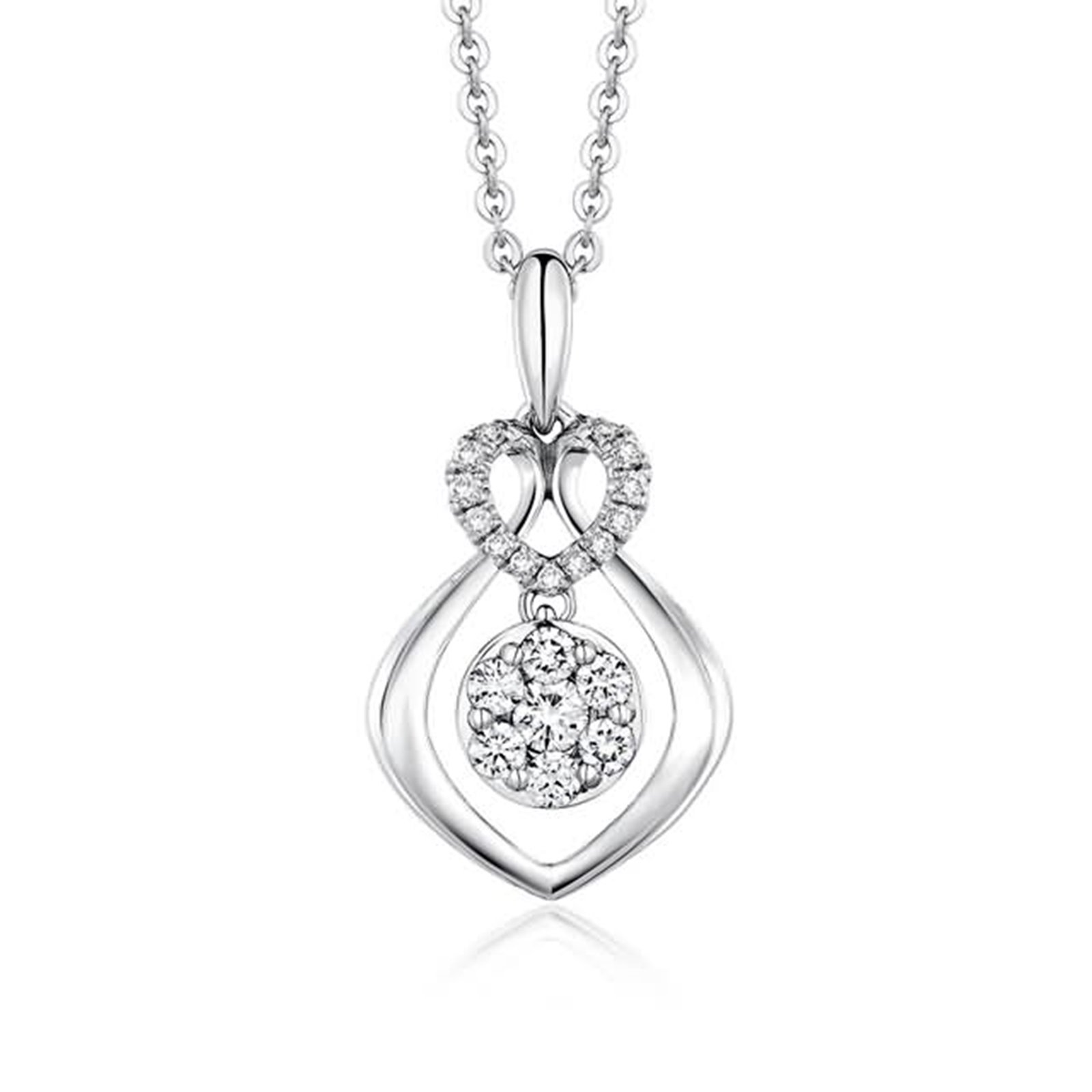 Beydodo Women Necklace,18k Real White Gold 1.22g ''Convergence of Love'' Heart Round Diamond Necklace