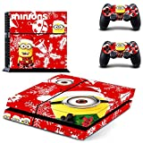 Golden Merry Christmas Playstation 4 Video Games Skin Stickers for PS4 Console and Dualshock4 Controllers