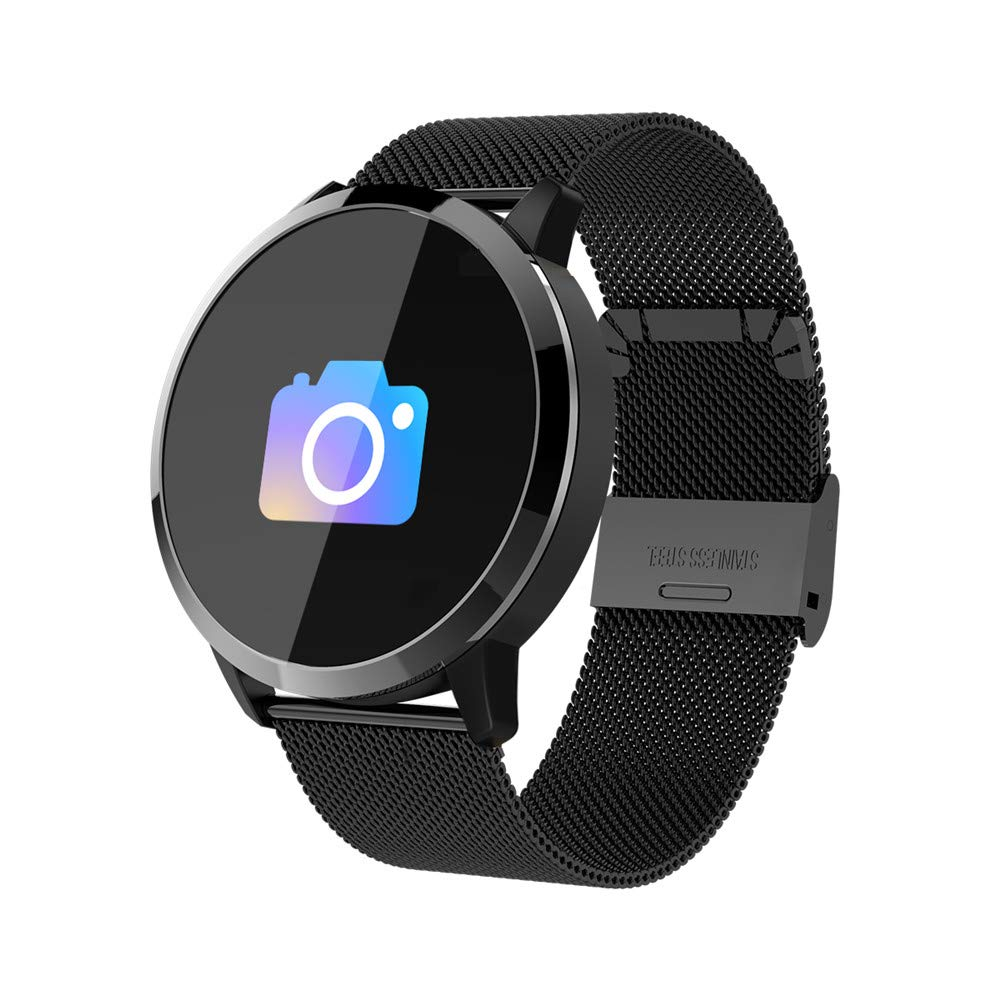 elecfan Bluetooth Smart Watch, Color Screen Fitness Activity Tracker Watch with Heart Rate Monitoring Function Bluetooth for Android 4.4 and Higher, Steel Belt, Black by elecfan
