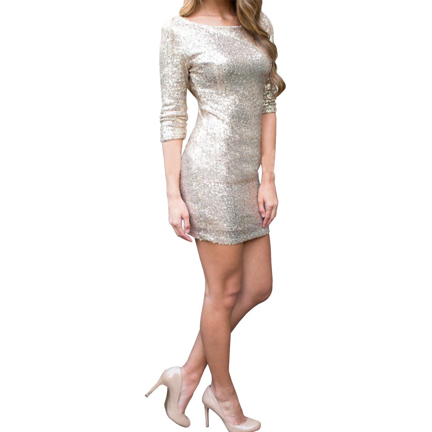 5adfbbdd Inshine Women Cut Out Sexy Sequin Glitter Club Party Cocktail Dresses:  Amazon.co.uk: Clothing