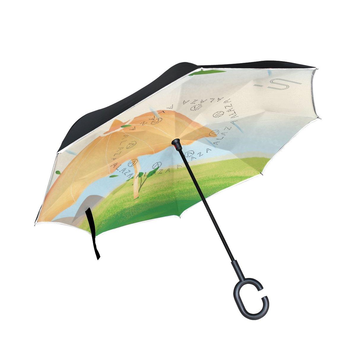 Double Layer Inverted傘雨太陽またはトラベル傘防風UV保護Big Straight傘軽量ポータブルアウトドアゴルフ傘C型ハンドル内部イエロー傘 B07B95WD6R