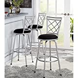 3-Piece Avery Ajustable Height Barstool in SILVER finish