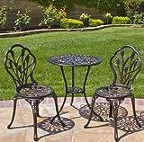 Patio Furniture-Patio Furniture Sets-3-Piece Tulip Design Cast Aluminum Bistro Set in Antique Copper For Sale