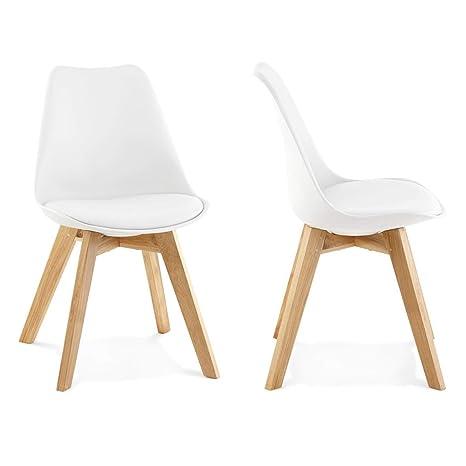 Lote 2 sillas Comedor o Cocina Wooden Blancas: Amazon.es: Hogar