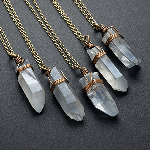 Raw gray crystal quartz point antique bronze chain pendant necklace 23 in