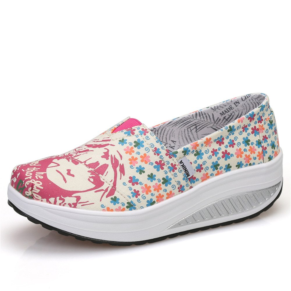 FangYOU1314 Shake Chaussures décontractées pour paresseuses Femmes Wedge Toile Rouge, Shake Shoes Set Chaussures paresseuses (Couleur : Rouge, Taille : 38 2/3 EU) Rouge f4e3eed - reprogrammed.space