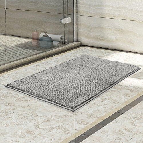 "Large Grey Bathroom Rug: Lifewit 32""x20"" Bath Mat Non Slip Microfiber Shaggy"