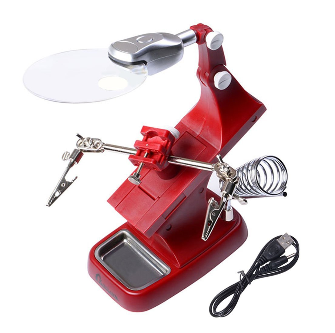 Helping Hands Soldering - Kitclan LED Light Desktop Magnifier with 360-Degree Roating Lens, 3X 4.5X Illuminated with Clamp and Alligator Clips Red Hands Free Bench Magnifier, Powered by USB/Battery