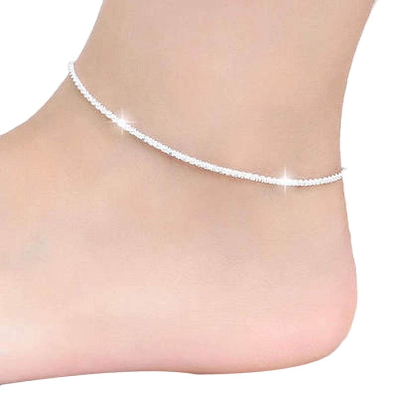 Anklet for Women Anklets Teen Girls Sterling Silver Gold with Initials Men Fashion Bracelet Jewelry Charm Bangle Bracelets Hemp Rope Women Chain Ankle Bracelet Barefoot Sandal Beach Foot Jewelry