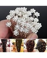 Seguryy - Lote de 20 alfileres decorativos para el pelo, diseño de flor, especial bodas y fiestas