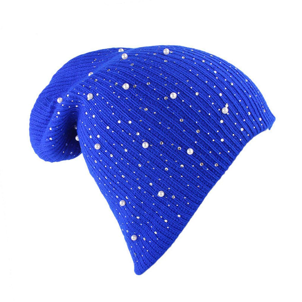 RXIN Cap Women Female Winter Beanie Hat Double Layer Warm Wool Knitted Rhinestone Bonnet Girl Skullies Beanies Hat