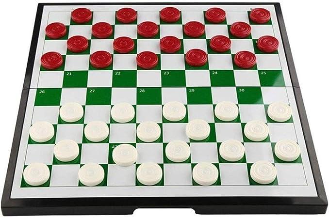 Damas de ajedrez portátiles internacionales Juego de ajedrez de plástico plegable portátil Tamaño del tablero 29.5 * 28.5cm Juegos de mesa Juguetes de plástico, juegos de rompecabezas, damas y padres: Amazon.es: Hogar