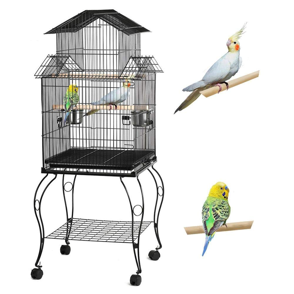 Topeakmart Triple Roof Top Large Bird Cage for Parrot Parakeet Cockatiel Conure Canary Caique with Removable Stand by Topeakmart