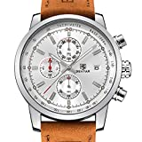 Leather Strap Double Calendar Fashion Quartz Watch Men' Sport Watch 30M Waterproof Fashion Casual Wrist Watch (brown)