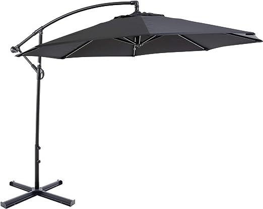 Parasol Sombrilla Jardin / Terraza / Patio | Negro | Ø 300 cm | Redondo | SORARA - CHEPRI | Poliéster de 180 g/m² (UV 50+) | Mecanismo Con Manivela | Incl. Base: Amazon.es: Jardín