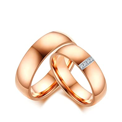 be55ff9d3 KnSam Pair for Men and Women Wedding Rings Rose Gold Band Ring with Cubic  Zirconia Rose