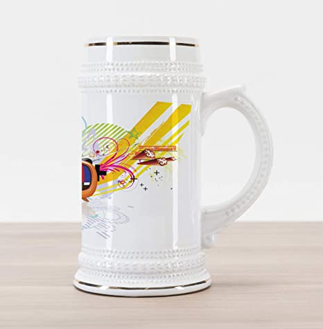 Ambesonne Modern Beer Stein Mug, Digital Image Television Media Theme Stars  Stripes Lines Abstract Artwork