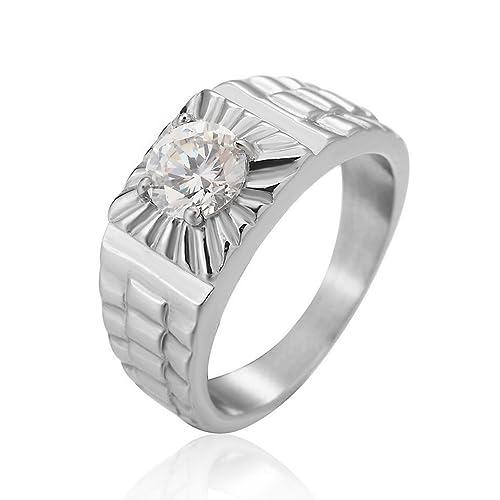 Taizhiwei diamante circonita titanio acero inoxidable anillos talla anillo compromiso boda matrimonio joyeria plata hombre