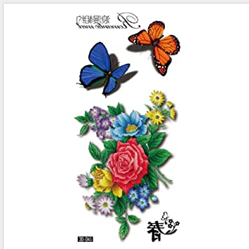 Color 3D Lindo Pequeño Mariposa Fresca Flor Tatuaje Pegatinas ...