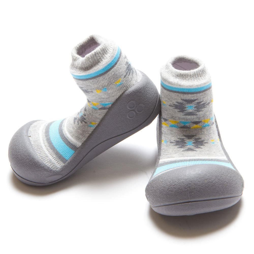 Attipas First Walking Shoes with Socks for Baby Boys Girls (Small, Nordic Grey)