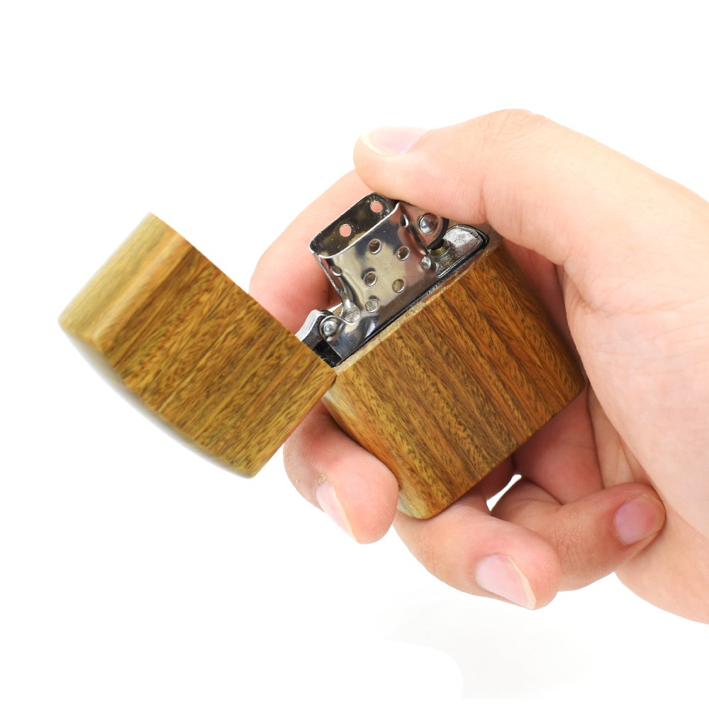 Wood Cover for Lighter,With Fragrance,One Case with Lighter is not inlcuded,Natural Sandalwood,100% Handmade,