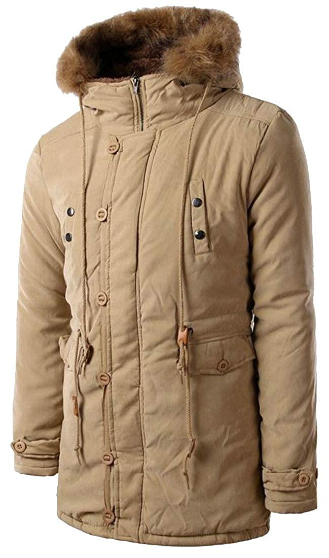 Pivaconis Mens Faux Fur Hooded Safari Quilted Thicken Parka Coat Outwear