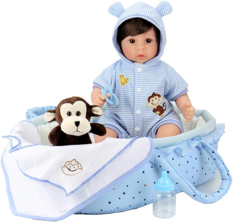 Aori Reborn Baby Doll 18 inch Lifelike Baby Boy Doll with Monkey Gift Sets