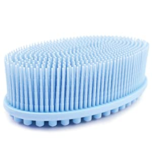 1 Pack Blue Avilana Exfoliating Silicone Body Scrubber Easy to Clean, Lathers Well, Eco Friendly, Long Lasting, And More Hygienic Than Traditional Loofah