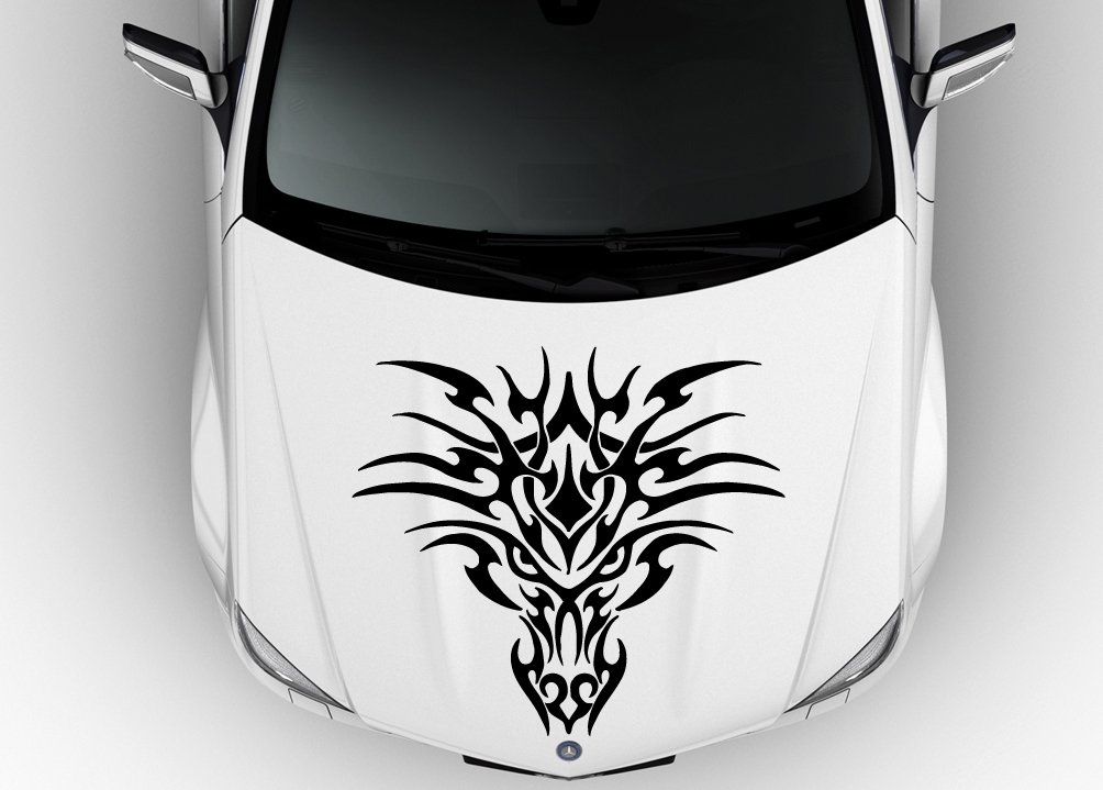 Amazon com car hood vinyl sticker decal graphics dragon face d1074 home kitchen