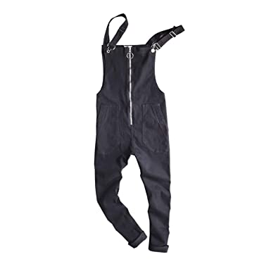 Sonjer New Hiphop Ripped Suspenders Jeans Casual Distrressed Jeans