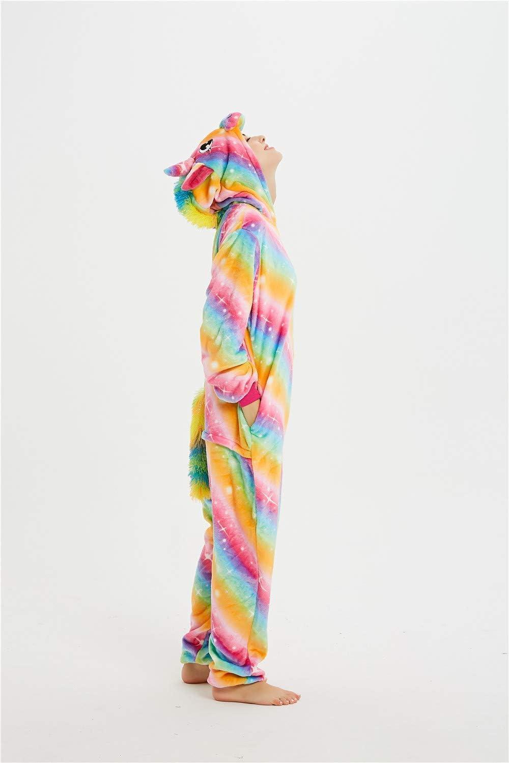 Blau Rosa Einhorn, S 148-158cm CozofLuv Tier Pyjamas Kost/üm Nachtw/äsche Cosplay Kost/üme Einhorn Rentier Pyjamas f/ür Erwachsene Anzug Outfit