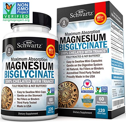 Magnesium Bisglycinate 100% Chelate No-Laxative Effect. Maximum Absorption & Bioavailability, Fully Reacted & Not Buffered. Sleep, Energy, Anxiety, Leg Cramps, Headaches. Non-GMO Project Verified